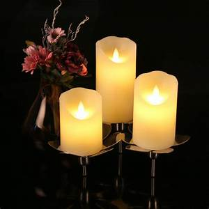 Flameless, Candles, 4, 5, 6, Set, Of, 6, Realistic, Pillar, Dancing, Flame, Led, Candle, Lights, With, Remote