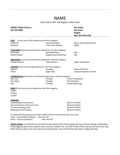 Experience Resume Model by Resume Exle 35 Child Modeling Resume Sle Fashion Model Resume Modeling Resume Format