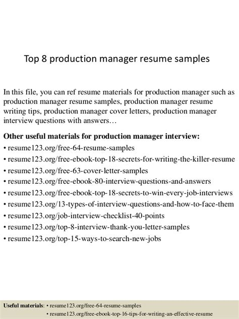 resume headline for production manager top 8 production manager resume sles
