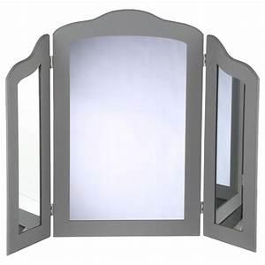 miroir a poser 3 panneaux 70cm gris With miroir a poser sur meuble