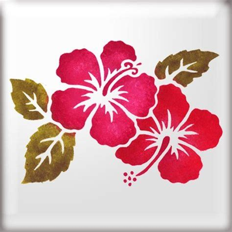 the stencil studio hibiscus flowers with leaves reusable stencil size large a2 10281l