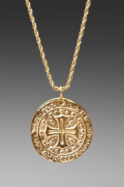 gold medallion necklace images