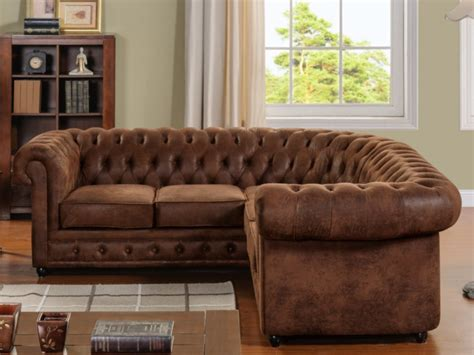 canape convertible chesterfield canapé d 39 angle microfibre aspect cuir vieilli chesterfield