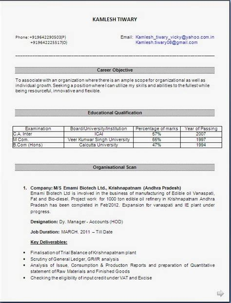 Cma Inter Resume by Resume Sles For Freshers Mcom Resume Ixiplay Free Resume Sles
