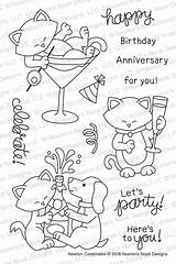 Newton Clear Nook Stamp Celebrates Stamps Coloring Birthday Newtonsnookdesigns Cat Quilt Quick Drawing sketch template