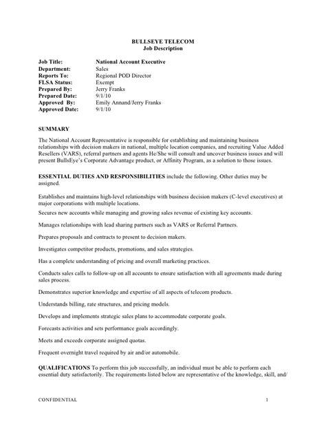 Executive Description Duties by National Account Executive Description