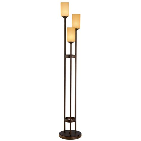 floor l three lights portfolio 62 in 3 light oil rubbed bronze floor l with beige shade lowe s canada