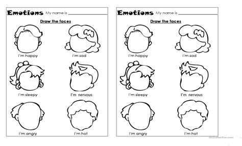 emotions worksheet  esl printable worksheets
