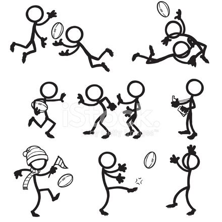 stick figure people aussie rules football stock vector