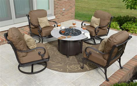 patio furniture conversation sets with pit amalia 4 person luxury cast aluminum patio furniture