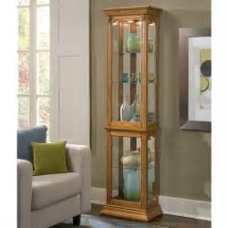 pulaski curios display cabinet in estate oak 21214