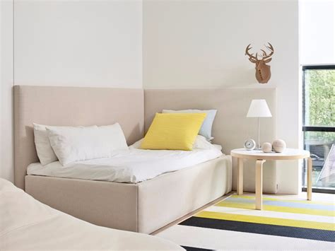 corner bed upholstered fabric single bed corner bed by woodnotes