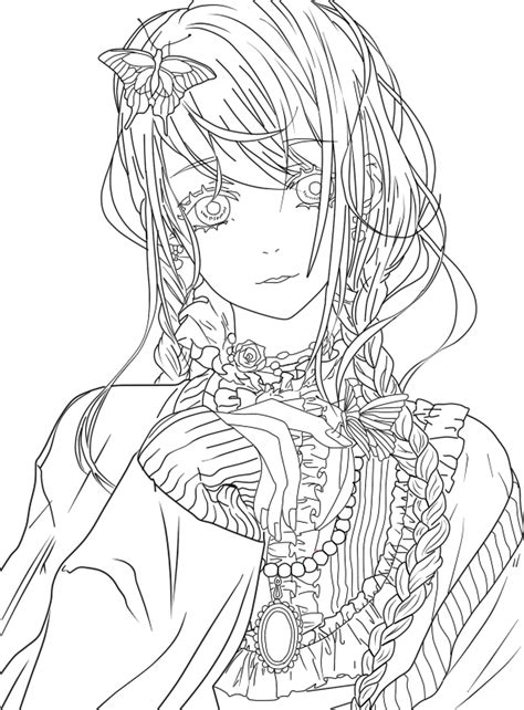 Cute Girl Lineart by FabiNeko Cute coloring pages