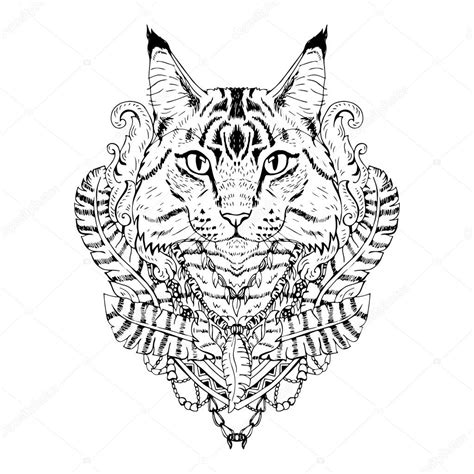 Abstract Black And White Animal Drawings by Black And White Animal Cat Abstract