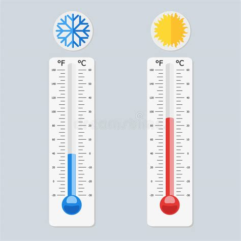 Thermometers Measuring Heat And Cold Temperature. Red And ...