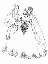 Coloring Pages Couple Flowers Brides Bride Groom Veil Printable Bouquet Prepare Throw Getcolorings Flower Flo sketch template