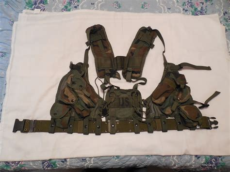 genuine  military issue woodland camo enhanced tactical load bearing vest nsn