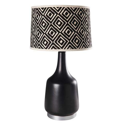 lampe en ceramique noire  coton motifs jacquard kasamalampe  poser maisons du monde
