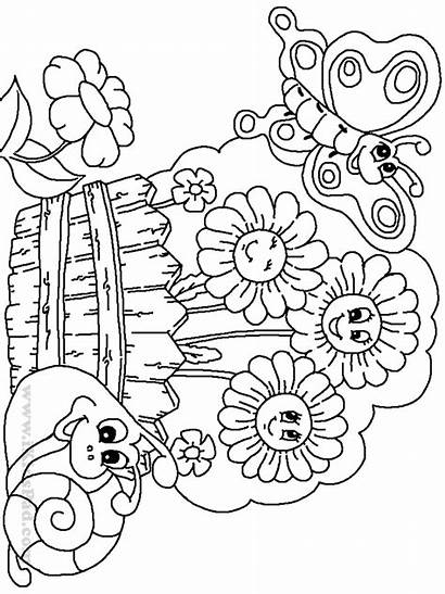 Coloring Garden Pages Printable Gardens Butterfly Flower
