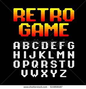 Pixel Retro Video Game Font 8 Vectores En Stock