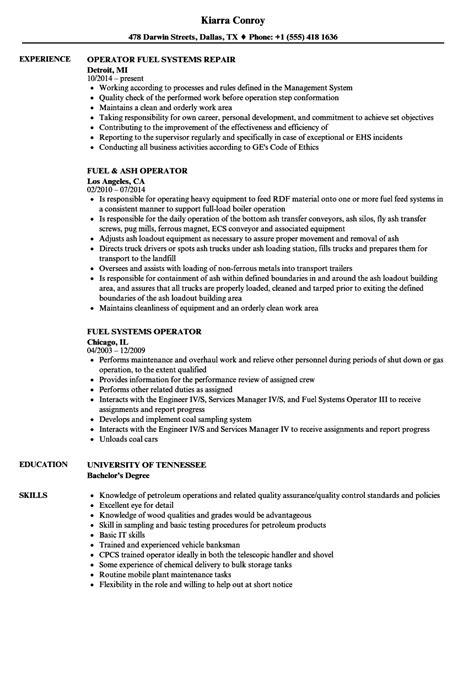 Operator Resume by Fuel Operator Resume Sles Velvet