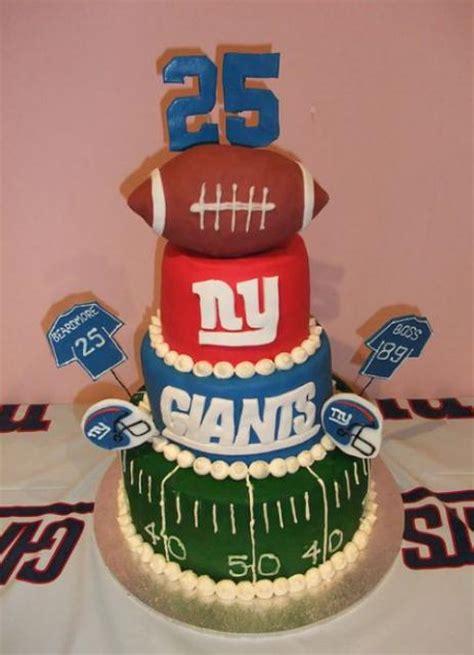 Four Tier New York Giants Theme Birthday Cake With