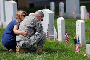 American Soldier Crying at Grave