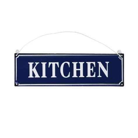 signs blue metal wall hanging kitchen sign plaque 20cm x 6cm ebay Kitchen