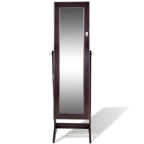 Brown Free Standing Jewelry Cabinet with LED Light and