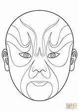 Mask Opera Chinese Coloring Pages Drawing Masks Printable Phantom Beijing Supercoloring Crafts Result Evil Template Peking Asian Select Category Super sketch template