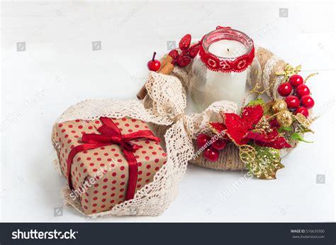 christmas wreath gift box candle  stock photo