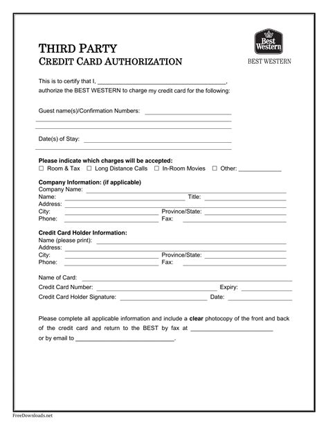 western credit card authorization form