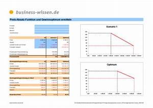 Umsatz Berechnen Excel : preis absatz funktion und gewinnoptimum ermitteln excel tabelle business ~ Themetempest.com Abrechnung