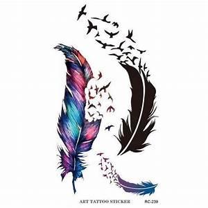 Planche de 3 Tatouages éphémères plume et oiseaux qui s ...