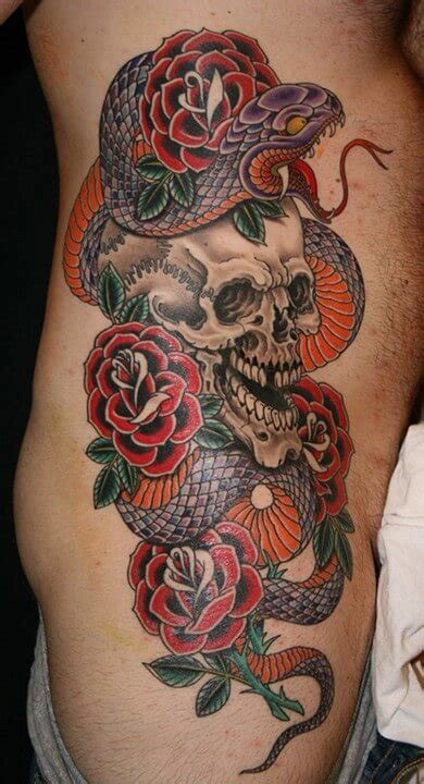 traditional snake  skull  roses tattoo  side rib