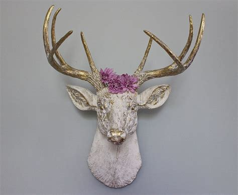 Faux Taxidermy Deer Head Stag Buck Wall Decor Vintage White Wall And Floor Tiles For Bathrooms Bathroom Tile Boards Mat Ideas Vanities How To Put In Pictures Feature