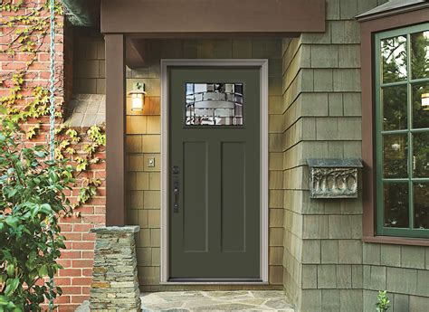 green gamble house inspired craftsman entry door