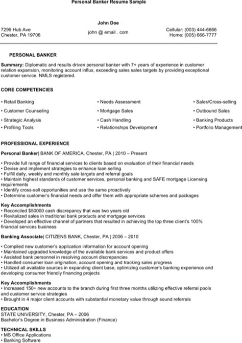 Personal Banker Sle Resume by Personal Resume Templates For Free Formtemplate