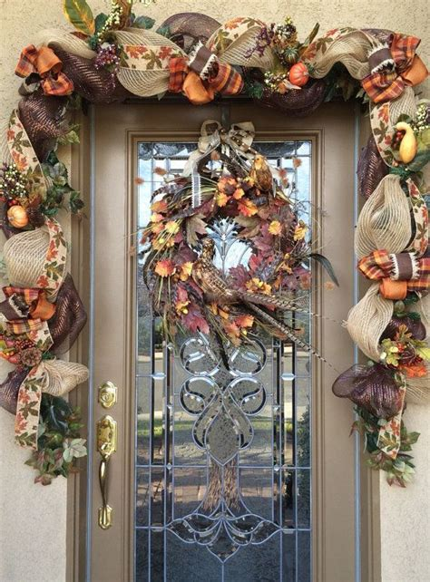 fall front door garland images  pinterest fall