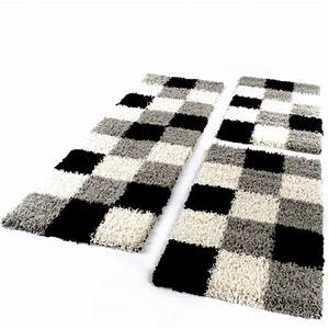 tapis de contour de lit de couloir poils longs carreaux With tapis de couloir avec canapé lit but