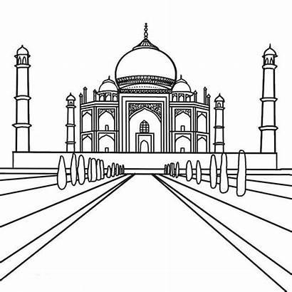 Taj Mahal Coloring Southern Drawing Cartoon Pages
