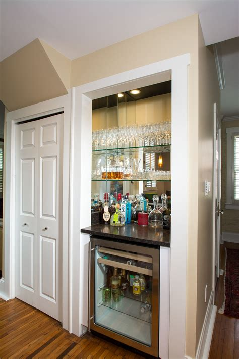 Small Wine Bar Ideas by Closet Converted To Wine Bar With Beverage Refrigerator