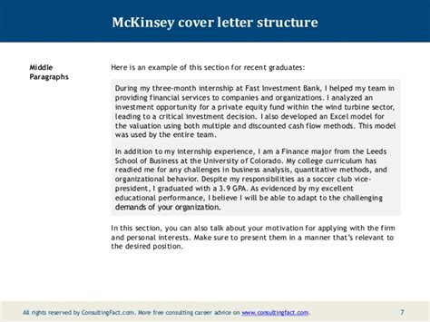 financial consultant cover letter template mckinsey cover letter sle