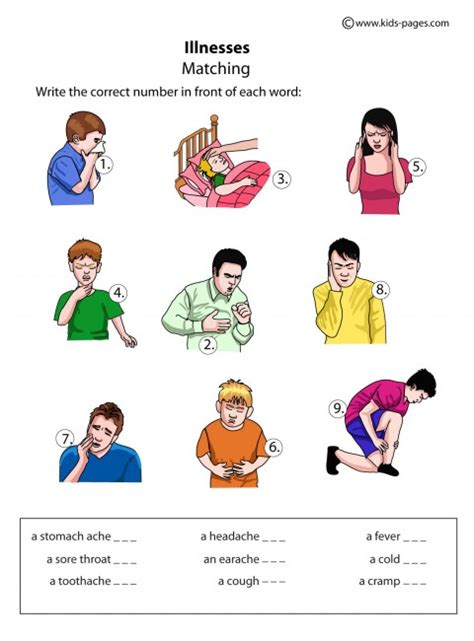 illnesses matching worksheet