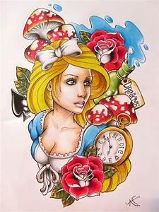 Alice In Wonderland tattoo design by Frosttattoo on DeviantArt