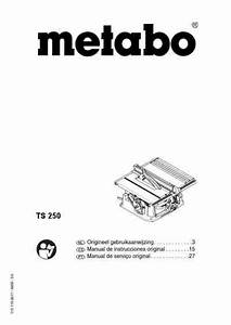 Metabo Ts-250 Tools Download Manual For Free Now