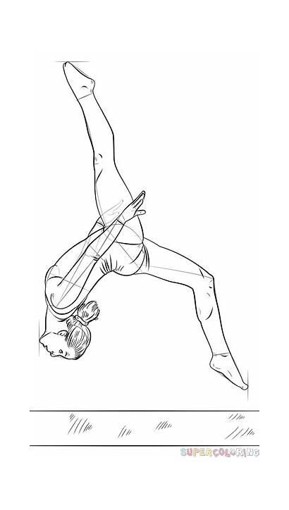 Gymnast Draw Beam Step Drawing Line