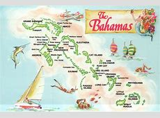 Map Postcard of The Bahamas, 700 Islands and Cays, New