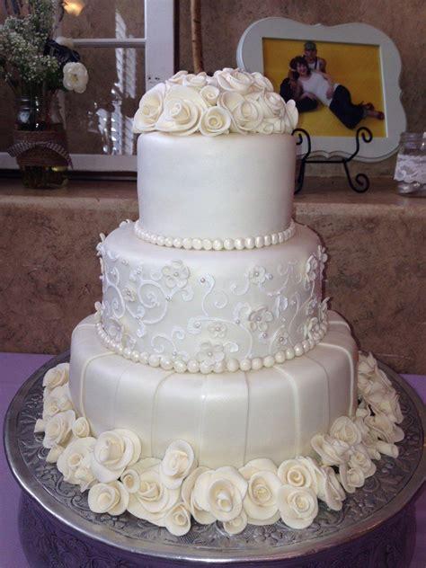 Ivory Chocolate Roses Wedding Cake Beautiful White