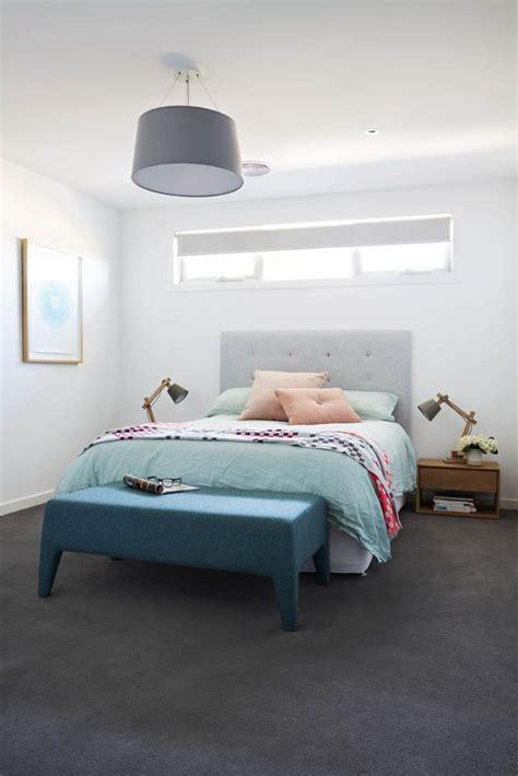 dark grey carpet crisp white walls   pop  colour